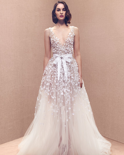 thick spaghetti strap floral applique plunging v-neck bow belt tulle a-line wedding dress Oscar de la Renta Spring 2020