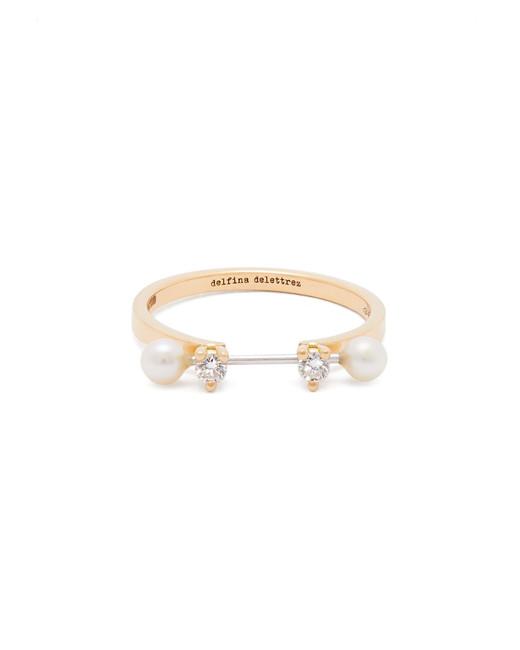 Delfina Delettrez 18-Karat Gold, Diamond, and Pearl Ring