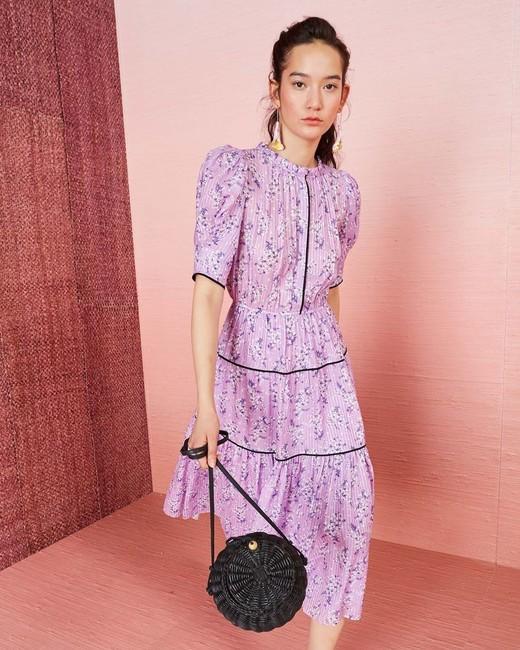 high neck purple floral printed midi dress