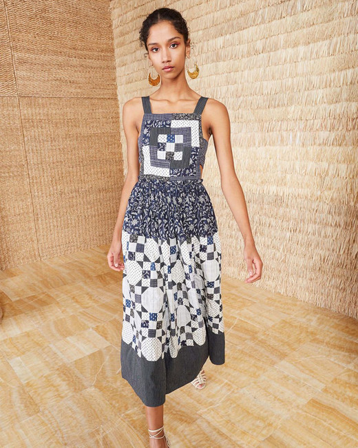 quilted square neckline midi dress