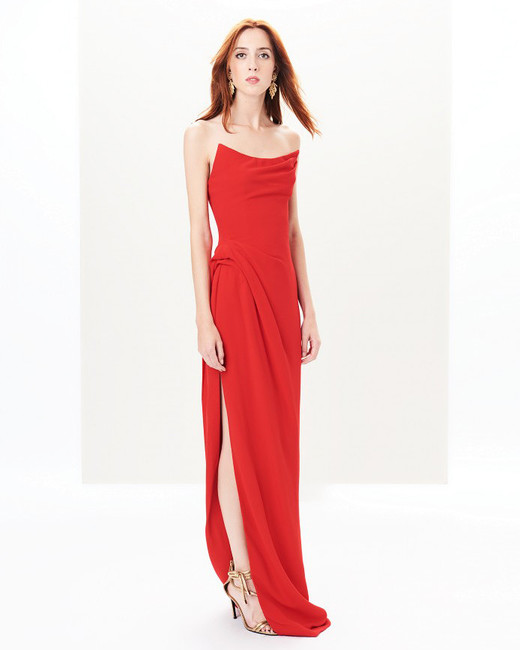 red spaghetti strap gown