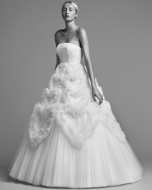 viktor rolf wedding dress fall 2018 soft tulle heart ruffle gown
