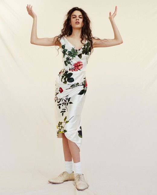 vivienne westwood wedding dress Spring 2019 sheath tea length floral print