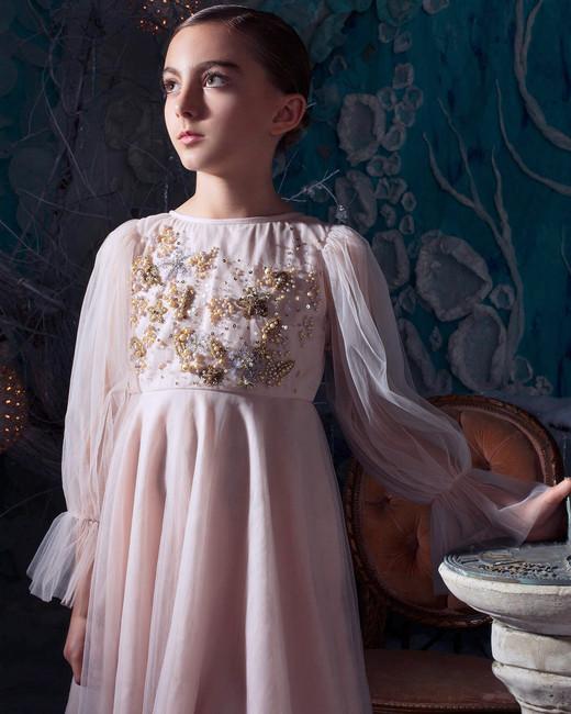 winter flower girl pink long tule sleeves dress with beading