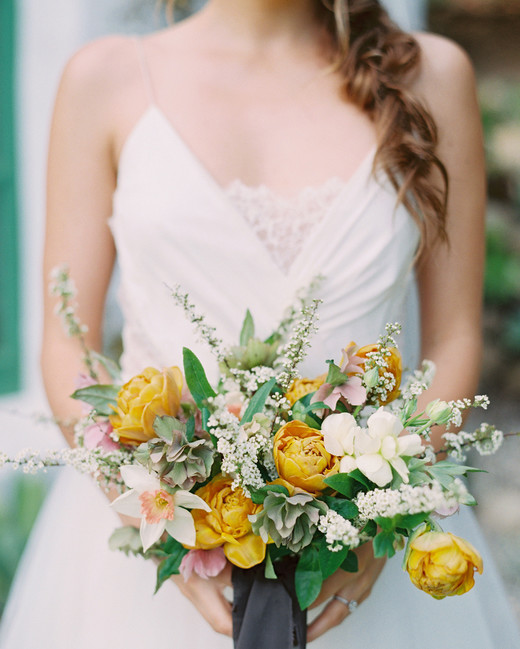 Dark golden peonies with white floral and greenery bouquet