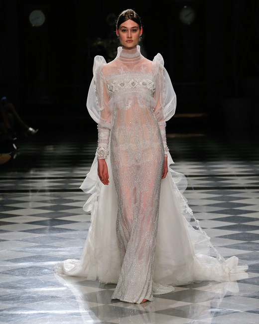 yolancris long sleeves sheer sparkly train wedding dress spring 2018