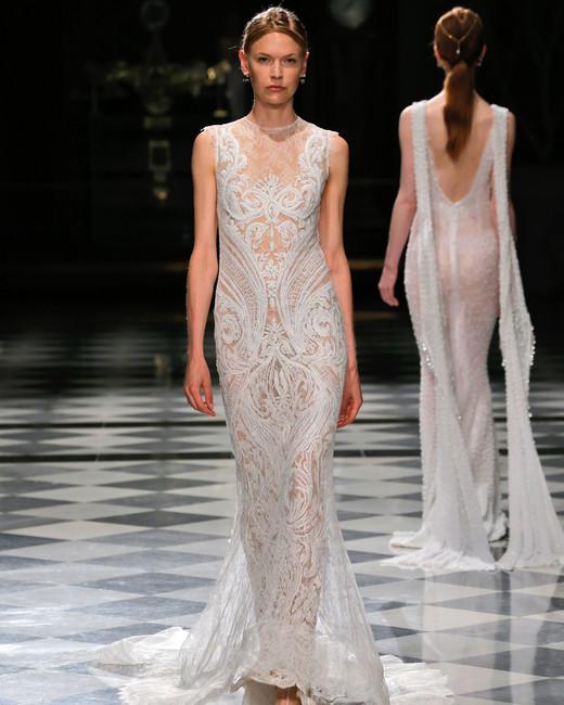 yolancris embellished high neck sheath wedding dress spring 2018