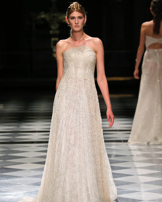 yolancris strapless beaded flowy wedding dress spring 2018