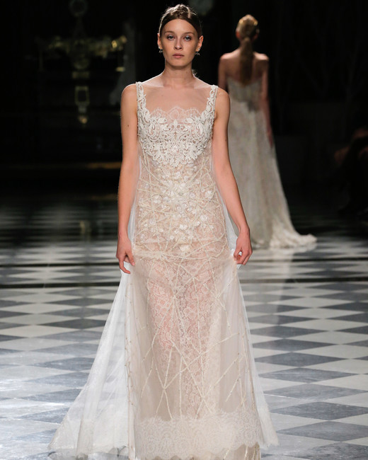 yolancris square neck lace wedding dress spring 2018