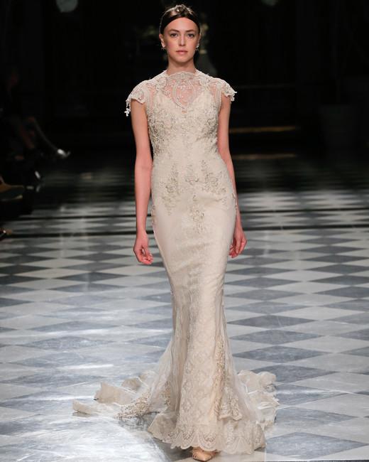 yolancris cap sleeves embellished trumpet wedding dress spring 2018