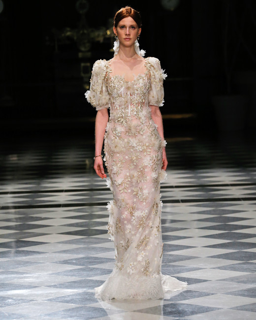 yolancris half sleeves embellished sheath wedding dress spring 2018