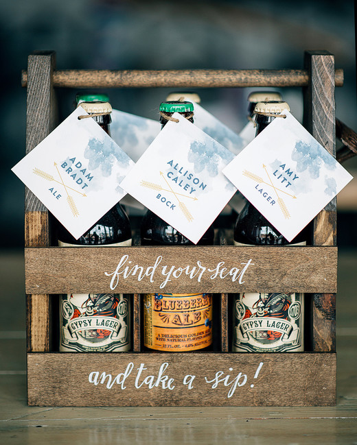 alcohol escort cards labeled beer in wood caddy