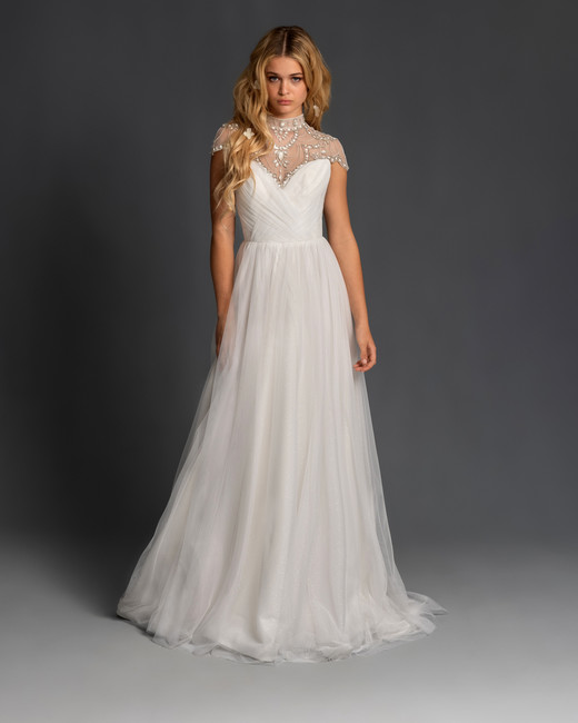 blush hayley paige cap sleeves high neck illusion a line wedding dress spring 2020