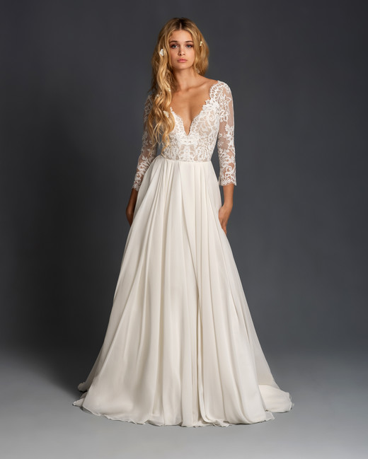 blush hayley paige long sleeves lace v neck a line wedding dress spring 2020