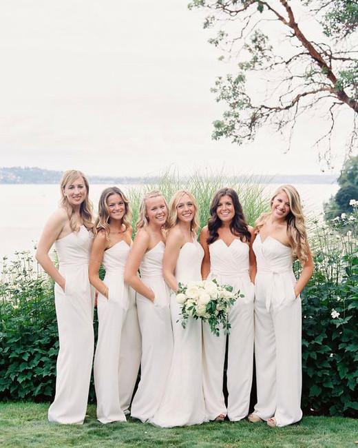 women wearing strapless white bridesmaids jumpsuits