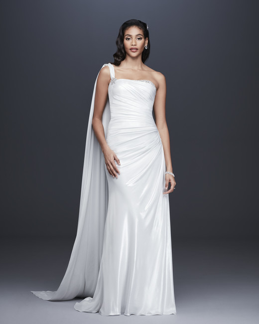 davids bridal galina signature fall 2019 trumpet one strap sleeveless beaded train