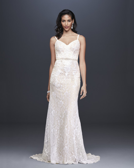 davids bridal galina signature fall 2019 mermaid sweetheart spaghetti strap cream lace beaded belt