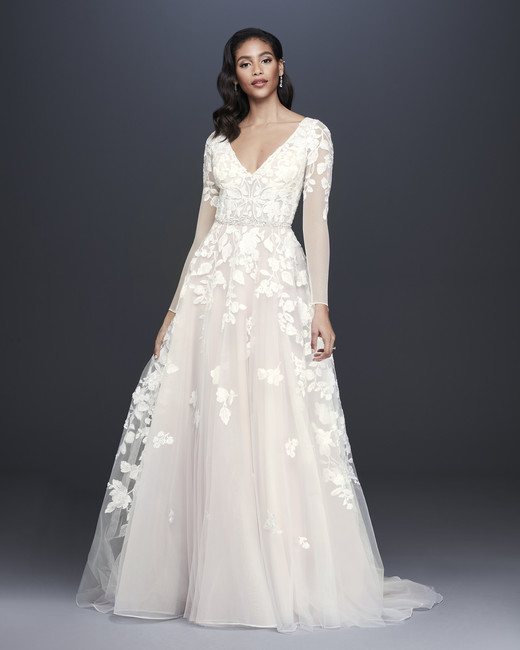 davids bridal galina signature fall 2019 ball gown v neck sheer long sleeve flower applique