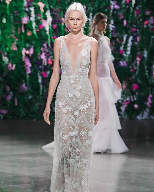 Galia Lahav Floral V-Neck Wedding Dress Fall 2018
