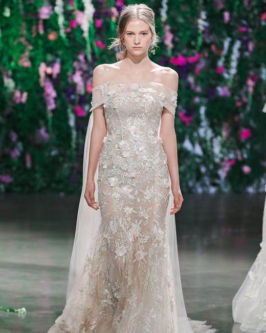 Galia Lahav Off-the-Shoulder with Cape Wedding Dress Fall 2018