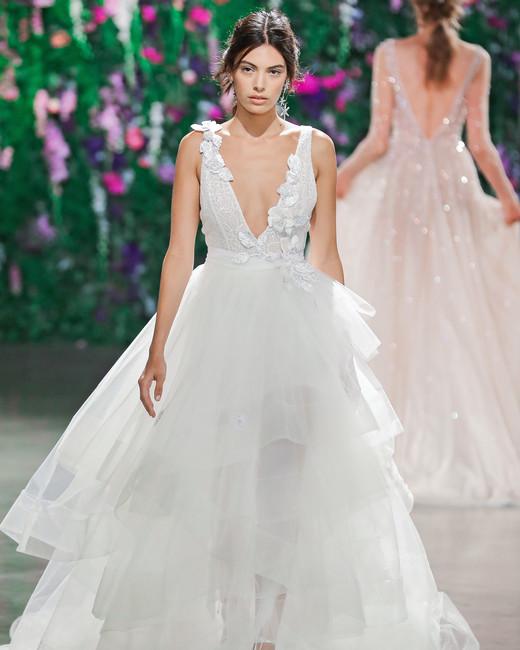Galia Lahav Layered V-Neck Ball Gown Wedding Dress Fall 2018