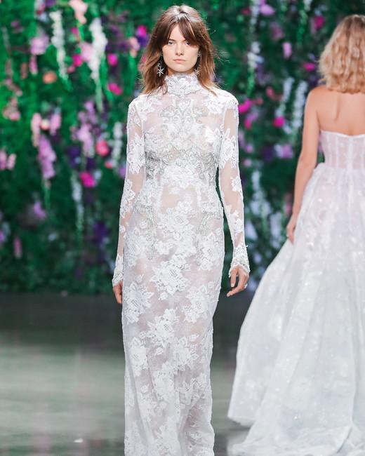 Galia Lahav High Neck Sheath Wedding Dress Fall 2018