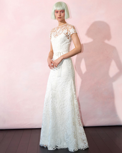 isabelle armstrong wedding dress spring 2019 short-sleeve illusion neck sheath