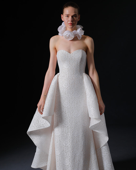 strapless sweetheart lace overskirt a-line wedding dress Isabelle Armstrong Spring 2020