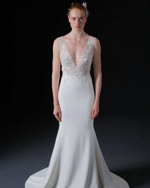 thick spaghetti strap deep v-neck lace semi mermaid wedding dress Isabelle Armstrong Spring 2020