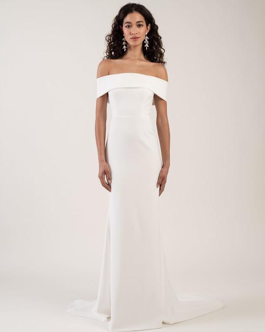 off-the-shoulder straight across train sheath wedding dress Jenny by Jenny Yoo Spring 2020