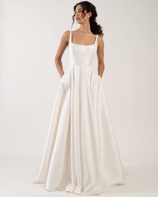 a30bb8ce6fa spaghetti strap square neckline pockets a-line wedding dress Jenny by Jenny  Yoo Spring 2020