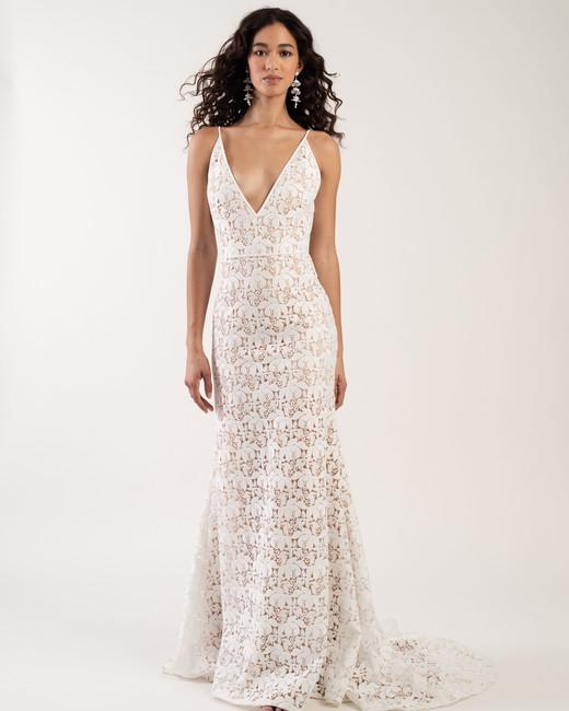 spaghetti strap deep v-neck embroidered lace a-line wedding dress Jenny by Jenny Yoo Spring 2020