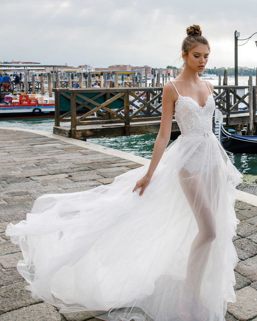 spaghetti strap sheer julie vino wedding dress spring2018