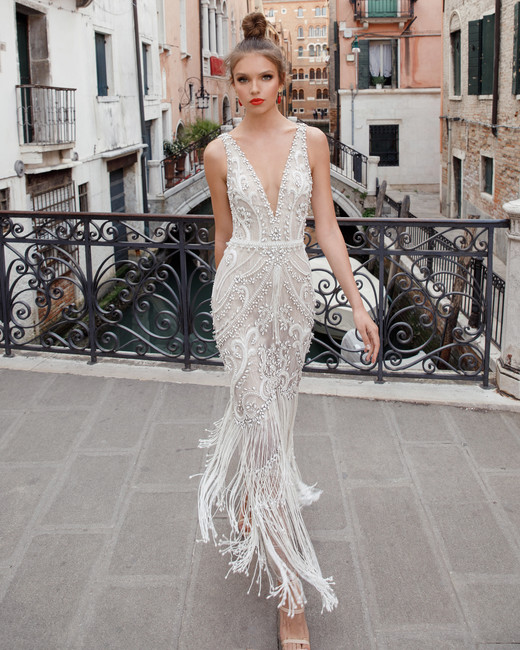 v-neck with fringe julie vino wedding dress spring2018