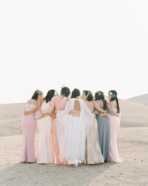 bride with bridesmaids in flowy desert chic dresses