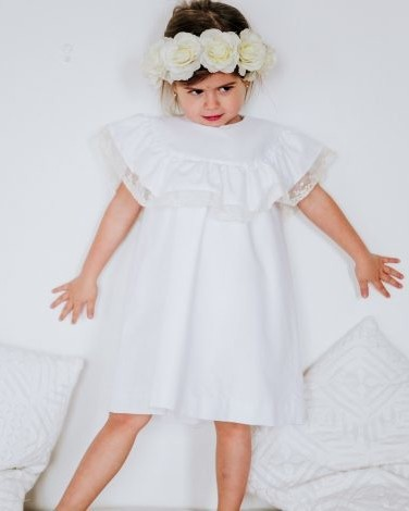 white lace Le Petit Chiffon flower girl dress