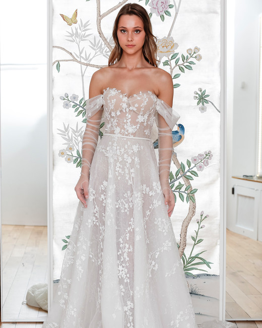 lee petra grebenau belted off the shoulder a line wedding dress with sheer arm length gloves spring 2020