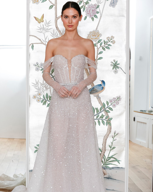 lee petra grebenau sequined off the shoulder plunging neckline a line wedding dress with sheer arm length gloves spring 2020