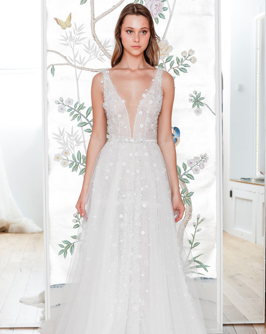 lee petra grebenau belted sleeveless plunging neckline wedding dress with overskirt spring 2020