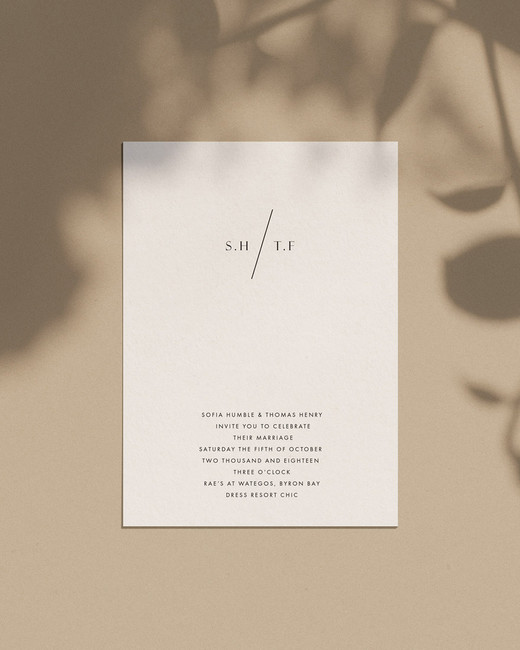 wedding invitation negative space modern minimal refined