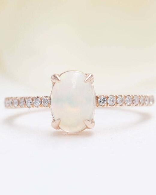 diamond band opal engagement ring