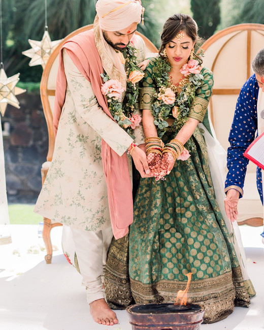 bride and groom during hindu vows ceremony