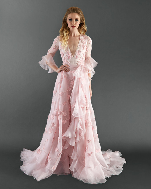 randi rahm pink long sleeve wedding dress spring 2018