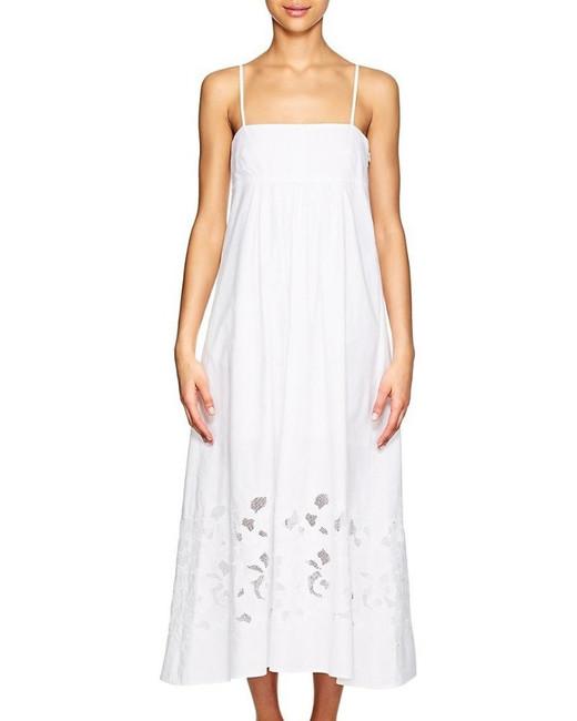 white cotton spaghetti strap square neckline dress