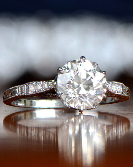 round cut ring vintage with platinum and diamond band