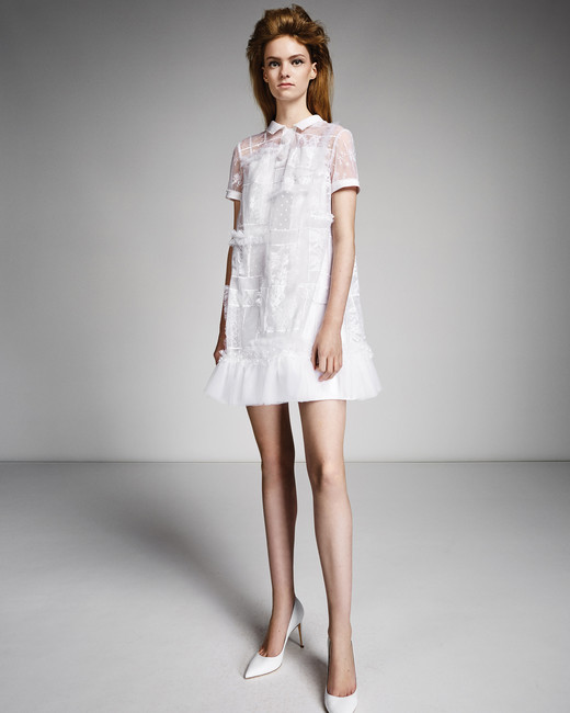 viktor rolf marriage fall 2019 button down sheer short sleeve short sheath