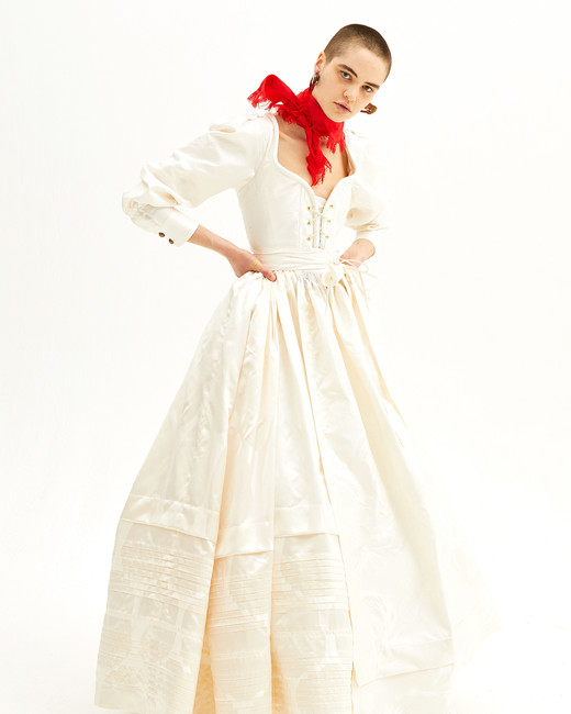 vivienne westwood spring 2019 wedding dress A-line with long sleeves