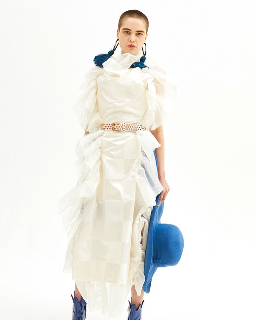 vivienne westwood spring 2019 sheath wedding dress with ruffles and belt