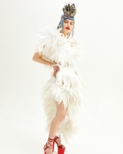 vivienne westwood spring 2019 wedding dress with feathers