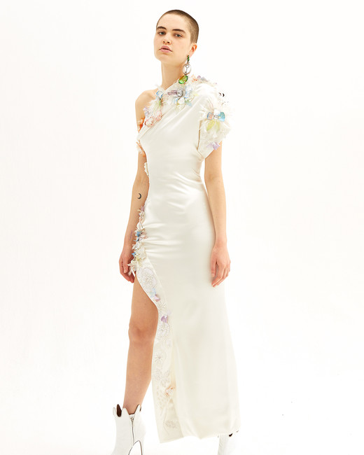 vivienne westwood spring 2019 sheath wedding dress with asymmetrical hem and colorful appliqués